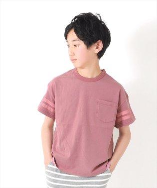 製品染めドロップショルダーラインプリント半袖Tシャツ