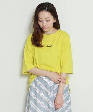リネン混刺繍入りTシャツ
