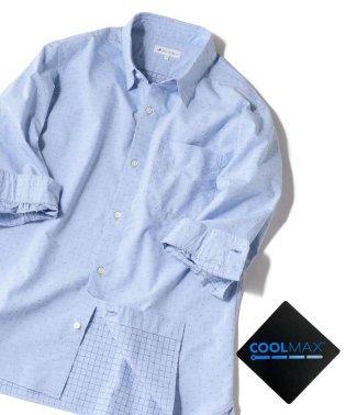 SHIPS JET BLUE: COOLMAX ドビードット 7分袖シャツ