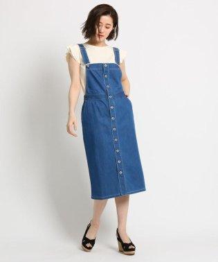 【洗える】ライトデニムジャンパースカート