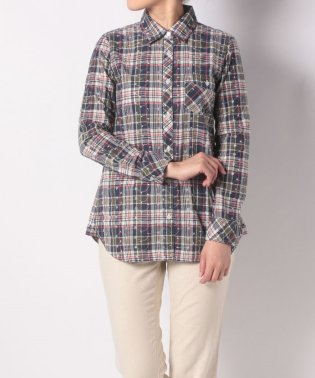 LS PLAID EMB SHIRT