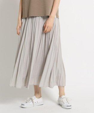 ◆【洗える】パウダーサテンギャザーロングスカート