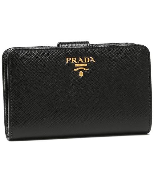 プラダ 財布 PRADA 1ML225 QWA F0002 SAFFIANO METAL ORO レディース 二つ折り財布 NERO