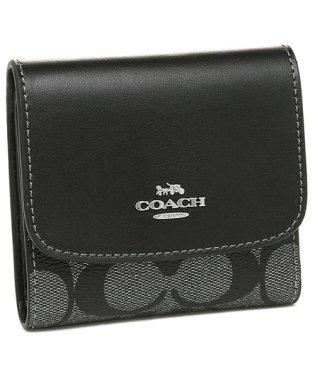 COACH F40646 SVGM スモール ウォレット シグネチャー キャンバス レディース 二つ折り財布 三つ折り財布 ガンメタル 黒