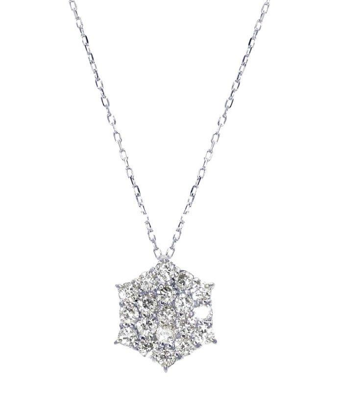 (JEWELRY SELECTION/ジュエリーセレクション)PT 天然ダイヤモンド 計0.3ct 19石パヴェデザイン プラチナネックレス/レディース プラチナ