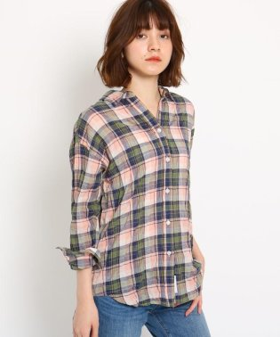 【洗える】リネンミックス シャーリングチェックシャツ