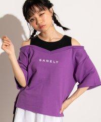 WEGO/レイヤードオフショルロゴTシャツ