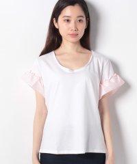 フリルスリーブ切り替え半袖Tシャツ・カットソー