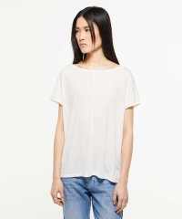 リネン混ボートネックルーズフレンチ半袖Tシャツ・カットソー
