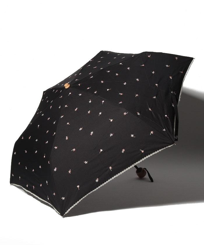 プチフラワー刺繍晴雨兼用折りたたみ傘 日傘