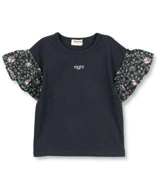 袖花柄半袖Tシャツ