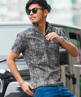 CavariA【キャバリア】モザイクチェック柄イタリアンカラーポロシャツ半袖