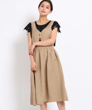 【洗える】麻レーヨンフレアジャンパースカート