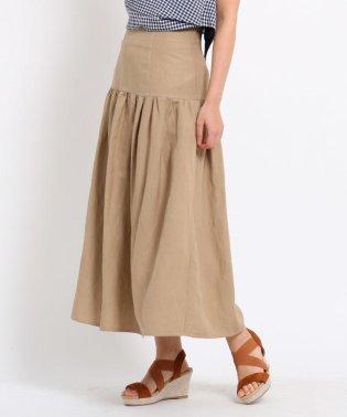 【洗える/Lサイズあり/GISELe6月号掲載】麻レーヨンハイウエストスカート