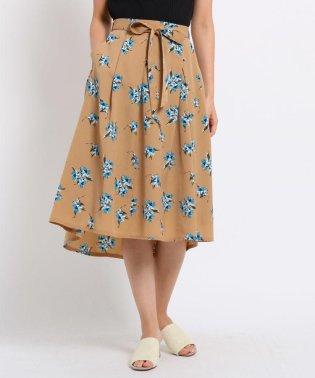 【洗える】花柄ミモレ丈スカート