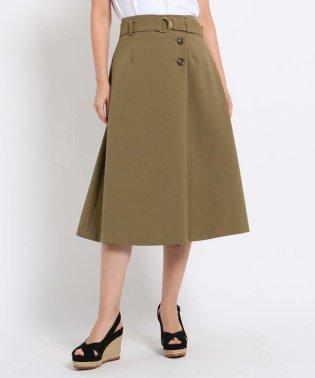 【Lサイズあり】【洗える】ラップ風ベルテッドスカート