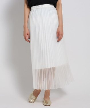 【洗える】ウエストゴム オーガンジープリーツスカート
