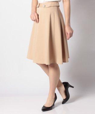 ジョーゼット素材パールボタン付きフレアスカート