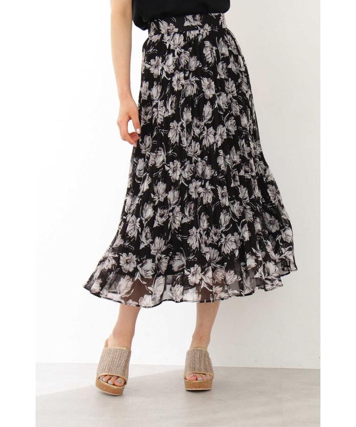 ◆フラワープリーツロングスカート