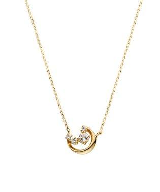 【数量限定】K18YG ダイヤモンド0.020 CT ホワイトトパーズ シャインリップル ネックレス