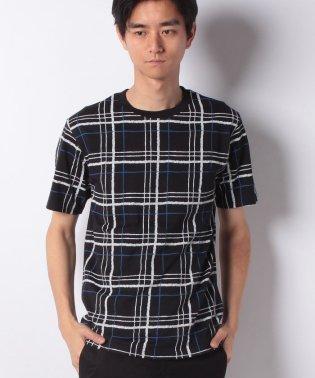 タータンチェック柄クルーネックTシャツ