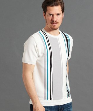 ストライプミラノリブニットTシャツ