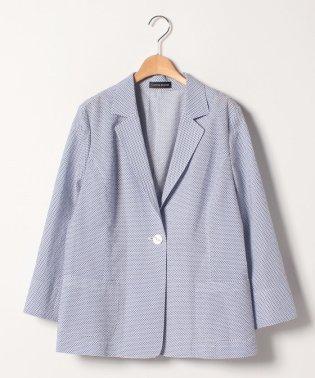 【大きいサイズ】シアサッカー ピンフィッシュプリントジャケット