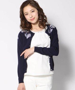 【大きいサイズ】【手洗い可能】肩レース刺繍アンサンブル