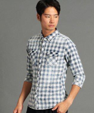 インディゴ七分袖シャツ