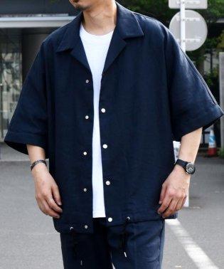 SU: リネン ショートスリーブ コーチシャツ ジャケット