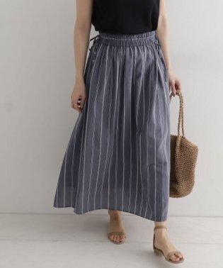 ストライプリボンギャザースカート