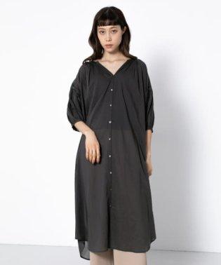 ギャザーシャツワンピース(7分袖)