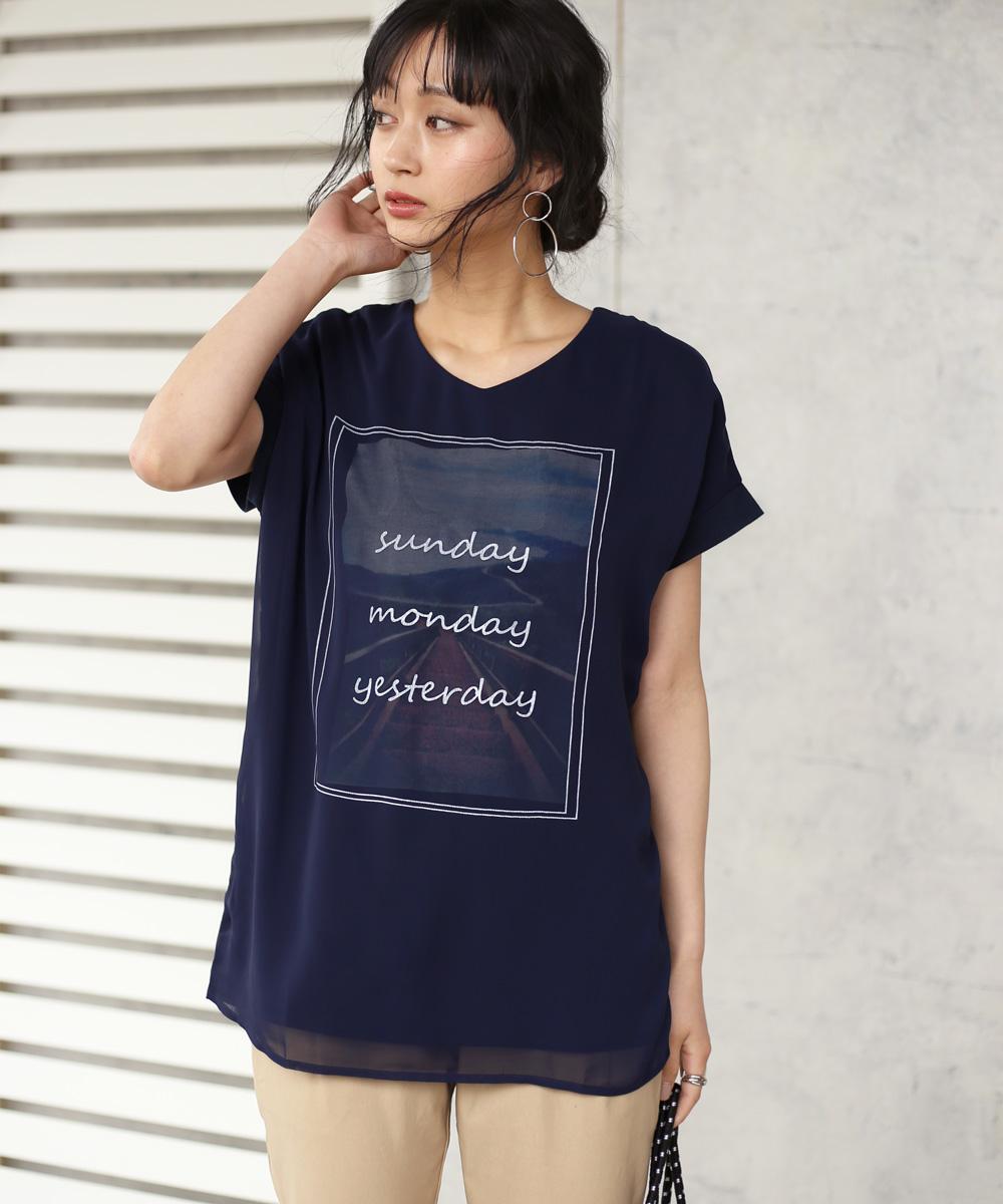 Vネック3DTシャツ