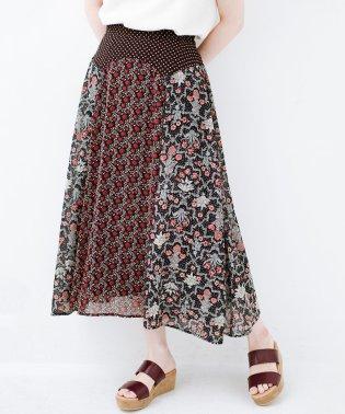 シンプルなトップスに合わせるだけでかわいくなれる MIX柄ロングスカート