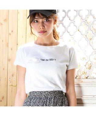 [トップス]英字 ロゴ 刺繍 美シルエット シンプル Tシャツ[190340]