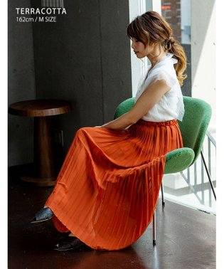 [ボトムス スカート] 繊細なプリーツが上品な揺れ感を演出 ジョーゼット プリーツスカート [190323]