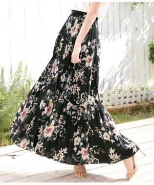 プリーツ花柄ロングスカート