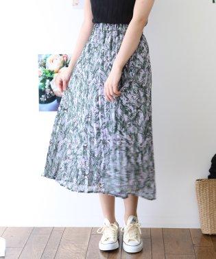 ボタニカルプリントプリーツスカート