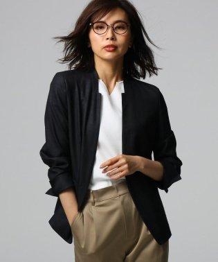 ◆[L]【洗える】リネンライク デザインネックジャケット