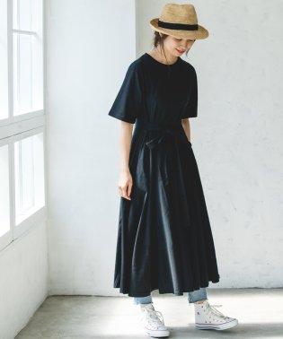 【ママサイズ】ベルト付半袖カットソーロングワンピース