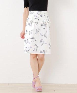 モノトーン花柄ペプラムスカート