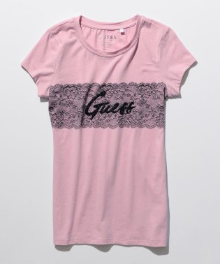 【GUESS】LACE LOGO TEE