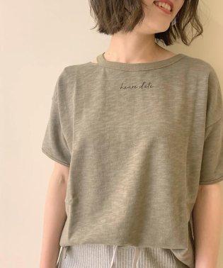 ヴィンテージスラブ裏毛 衿デザインTシャツ