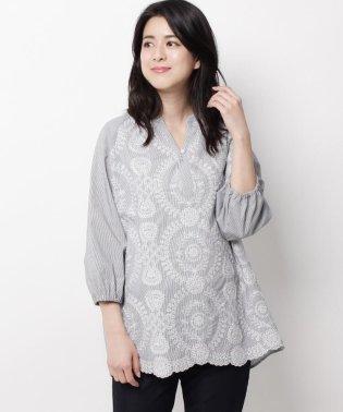刺繍×ストライプスモッグシャツ