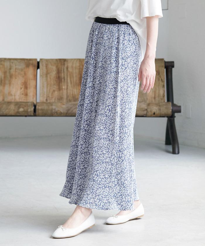 【WEB限定カラー:ブルー】プリーツフラワースカート