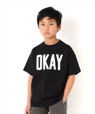 ドロップショルダーロゴプリント厚手半袖Tシャツ