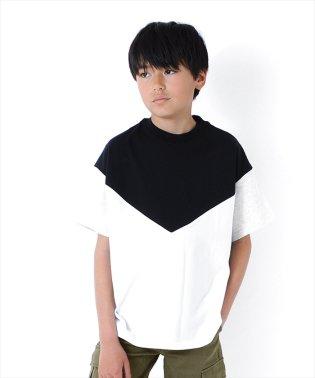 ドロップショルダー切替半袖Tシャツ