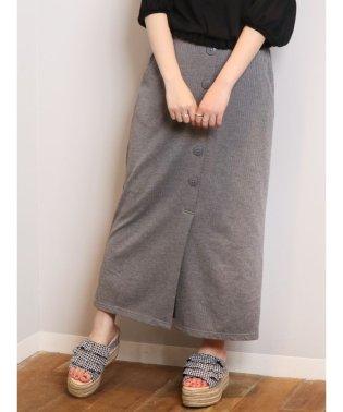 フロントボタンテレコロングタイトスカート