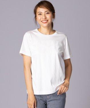 ロゴ×チュールストライプTシャツ