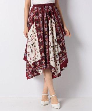 花モチーフスカーフ柄スカート